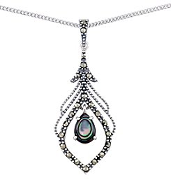 Victoria Crowne Genuine Marcasite And Abalone Peacock Leaf Pendant