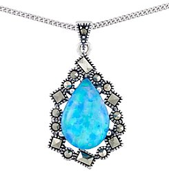 Victoria Crowne Genuine Marcasite And Synthetic Opal Pendant