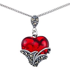 Victoria Crowne Genuine Marcasite And Glass Heart Pendant