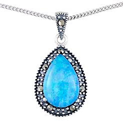 Victoria Crowne Genuine Marcasite And Synthetic Opal Teardrop Pendant