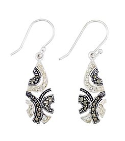 Victoria Crowne Genuine Marcasite And Crystal Teardrop Earrings