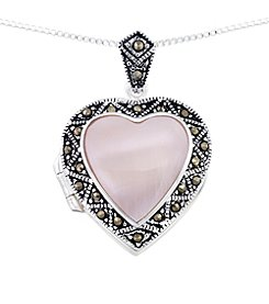 Victoria Crowne Genuine Marcasite And Shell Heart Locket Pendant With Chain