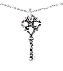 Victoria Crowne Genuine Marcasite Key Pendant