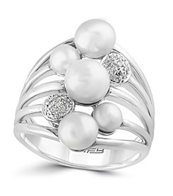 Effy® 925 Collection Sterling Silver Diamond And Cultured Freshwater Pearl Ring