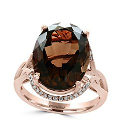 Effy® 14K Rose Gold Diamond And Smoky Quartz Ring