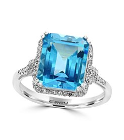 Effy® 14K White Gold Diamond And Blue Topaz Ring