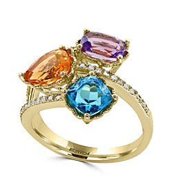 Effy®14K Yellow Gold Diamond, Amethyst, Blue Topaz And Citrine Ring