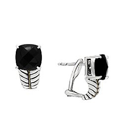 Effy® 925 Sterling Silver And 18K Yellow Gold Onyx Earrings