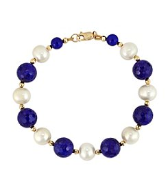 Effy® 14K Yellow Gold Lapis And Cultured Freshwater Pearl  Bracelet