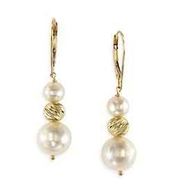 Effy®14K Yellow Gold And Cultured Freshwater Pearl Earrings