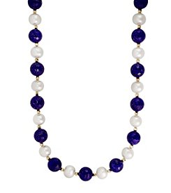 Effy® 14K Yellow Gold Lapis And Freshwater Pearl Necklace