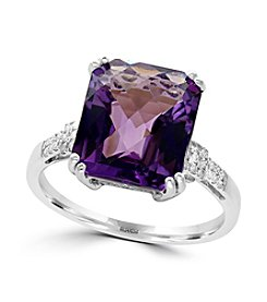 Effy® 14K White Gold Diamond And Amethyst Ring