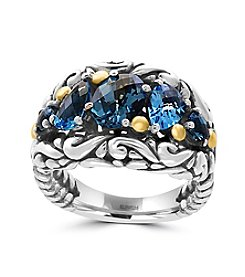 Effy® 925 Collection Sterling Silver And 18K Yellow Gold Blue Topaz Ring