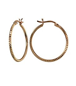 Designs by FMC 18K Rose Gold Plated Sterling Silver Diamond Cut Hoop Earrings