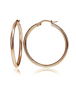 Designs by FMC 18K Rose Gold Plate Over Sterling Silver Polished Hoop Earrings