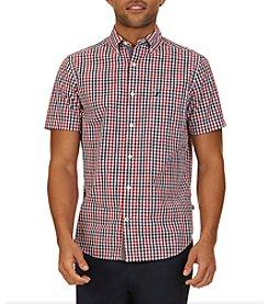 Nautica® Men's Classic Fit Navy Plaid Short Sleeve Button Down Shirt
