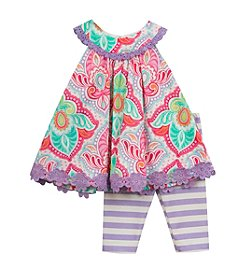 Rare Editions® Baby Girls' Damask Shirt & Pants Set