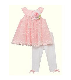Rare Editions® Baby Girls' Lace Top Leggings Set