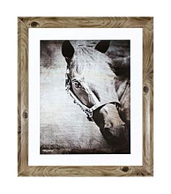 Ruff Hewn Wood Frame Horse Portrait