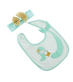 Baby Aspen Baby Girls' Simply Enchanted Mermaid Bib and Headband Set