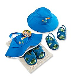 Baby Aspen Baby Boys' Tropical Beach Hat and Flip Flop Gift Set