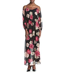 Calvin Klein Floral Printed Cold Shoulder Maxi Dress