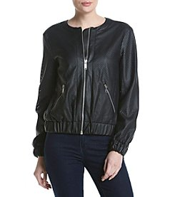 MICHAEL Michael Kors® Faux Leather Perforated Bomber Jacket