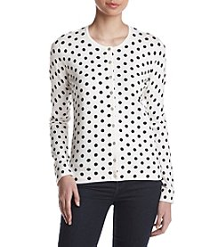 August Silk® Dot Print Cardigan