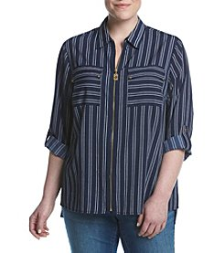 MICHAEL Michael Kors® Plus Size Stripe Woven Shirt