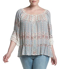 Democracy Plus Size Flounce Crochet Sleeve Top