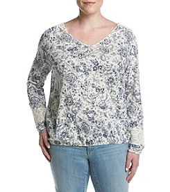 Ruff Hewn Plus Size Lace Shoulder Blouson Top