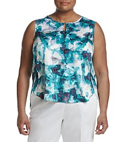 Nine West® Plus Size Watercolor Keyhole Blouse