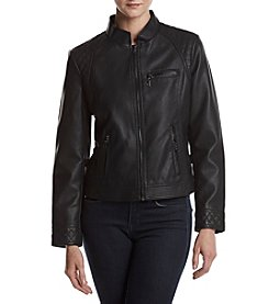 Gallery® Faux Leather Zip Front Jacket