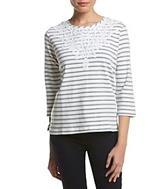 Alfred Dunner® Petites' Uptown Scroll Yoke Stripe Knit Top