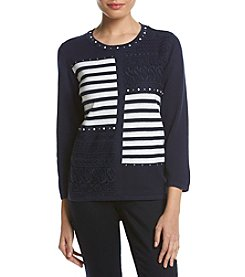 Alfred Dunner® Petites' Uptown Stripe Patch Sweater