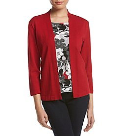Alfred Dunner® Petites' Layered Look Floral Sweater