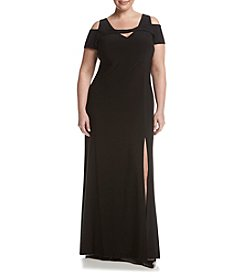 Morgan & Co.® Plus Size Cold-Shoulder Gown