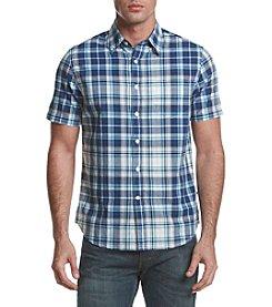 Le Tigre Men's Short Sleeve Plaid Woven Button Down Shirt