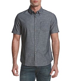 Le Tigre Men's Short Sleeve Printed Chambray Button Down Shirt