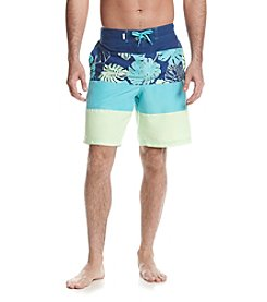 Le Tigre Men's Color Block Print Swim Trunks
