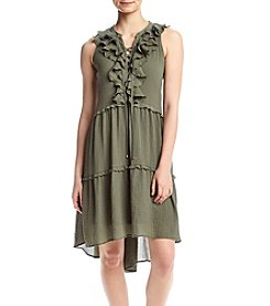 Cupio Lace Up Ruffle Neck Dress