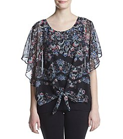 AGB® Tie Front Printed Blouse