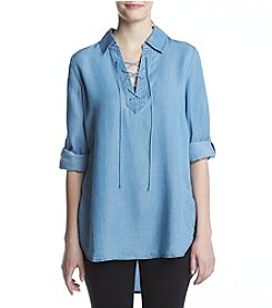 Fever™ Tencel Woven Lace Up Tunic