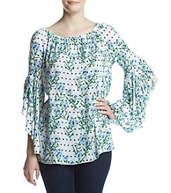 Fever™ Dot Floral Printed Blouse