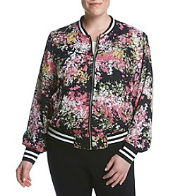 AGB® Plus Size Floral Bomber Jacket