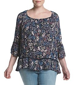 Fever™ Plus Size Floral Printed Blouse