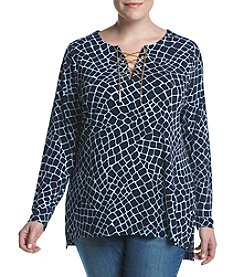 MICHAEL Michael Kors® Plus Size Crocodile Print Lace Up Tunic