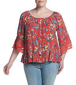 Democracy Plus Size Printed Lace Trim Blouse