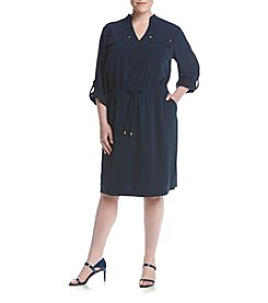 Jones New York® Plus Size Roll Sleeve Double Pocket Dress