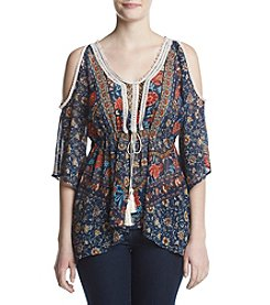 Oneworld® Printed Cold Shoulder Peasant Top